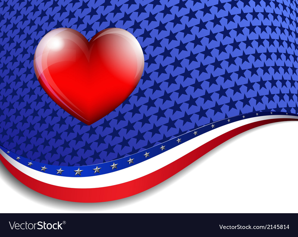 American background with a heart vector | Price: 1 Credit (USD $1)