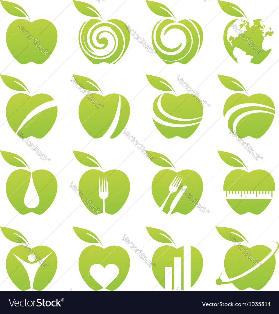 Apple icon set vector | Price: 1 Credit (USD $1)