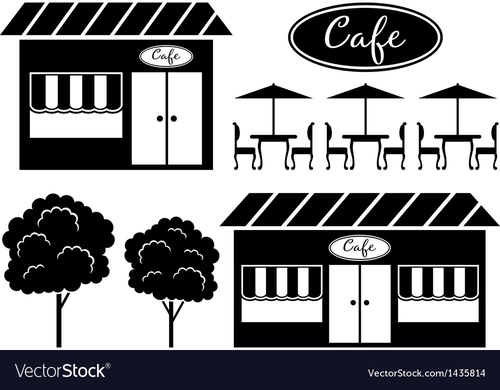 Black icon of cafe vector | Price: 1 Credit (USD $1)