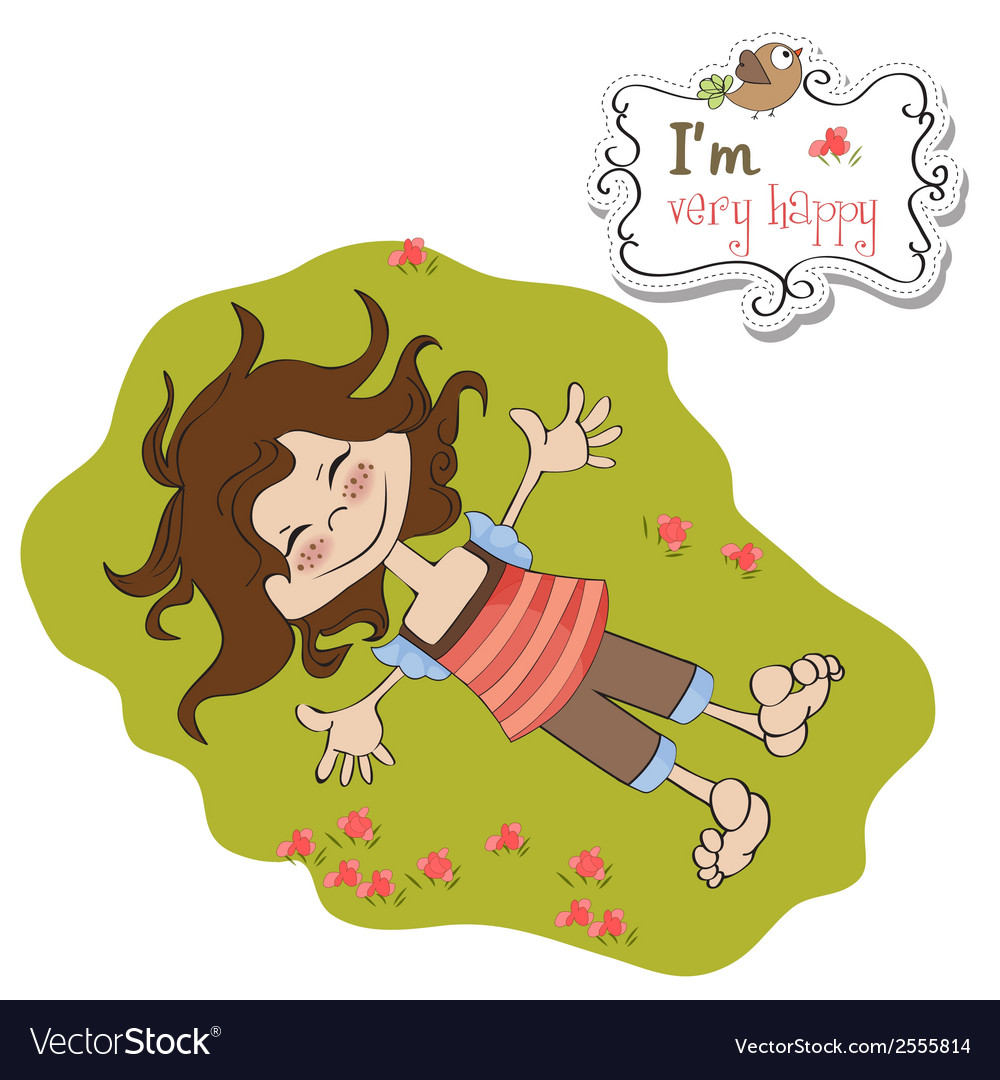 Happy little girl vector | Price: 1 Credit (USD $1)