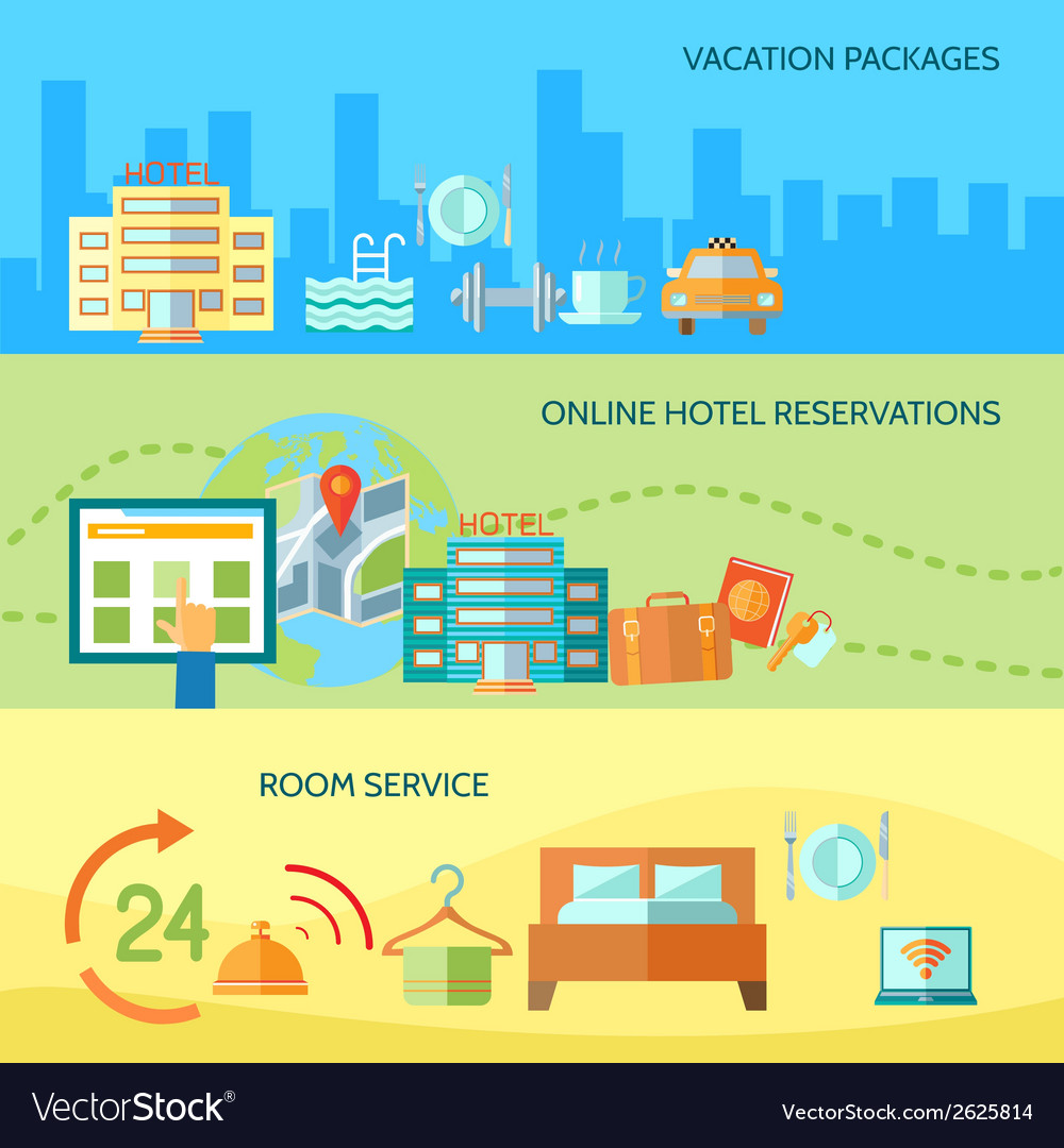 Hotel service banners set vector | Price: 1 Credit (USD $1)