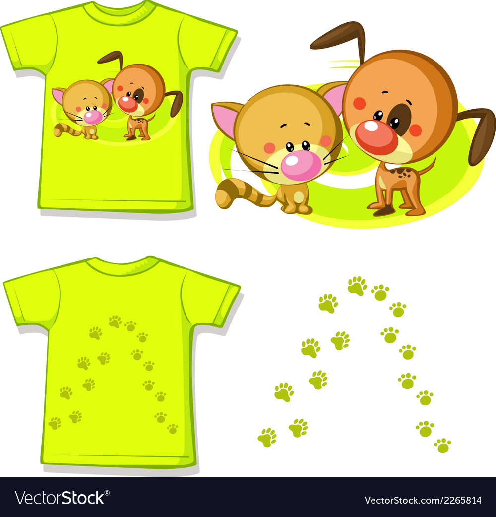 Kid shirt with cute cat and dog printed - isolated vector | Price: 1 Credit (USD $1)