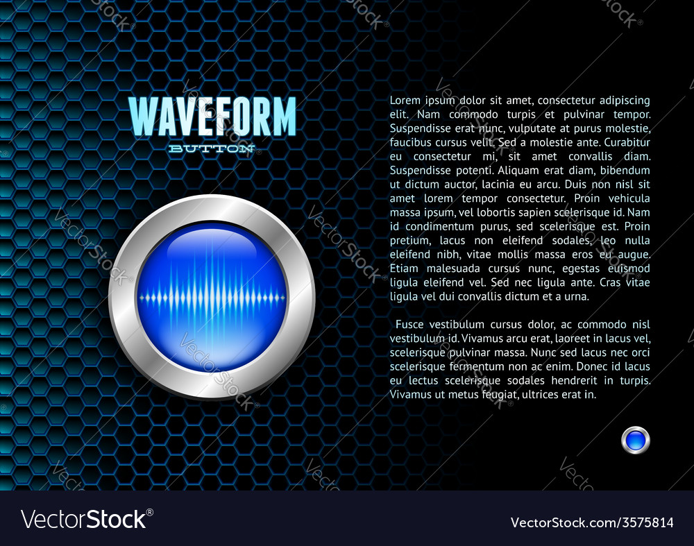Silver button with sound wave sign vector | Price: 1 Credit (USD $1)