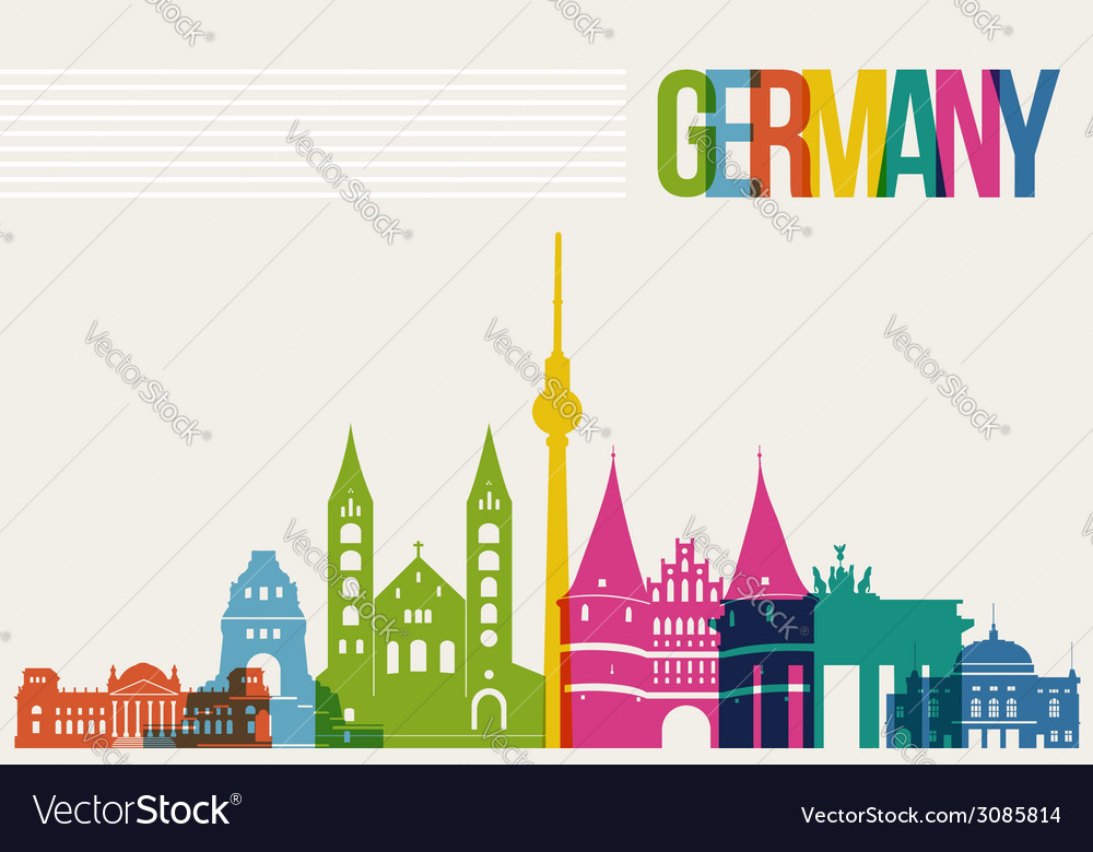 Travel germany destination landmarks skyline vector | Price: 1 Credit (USD $1)