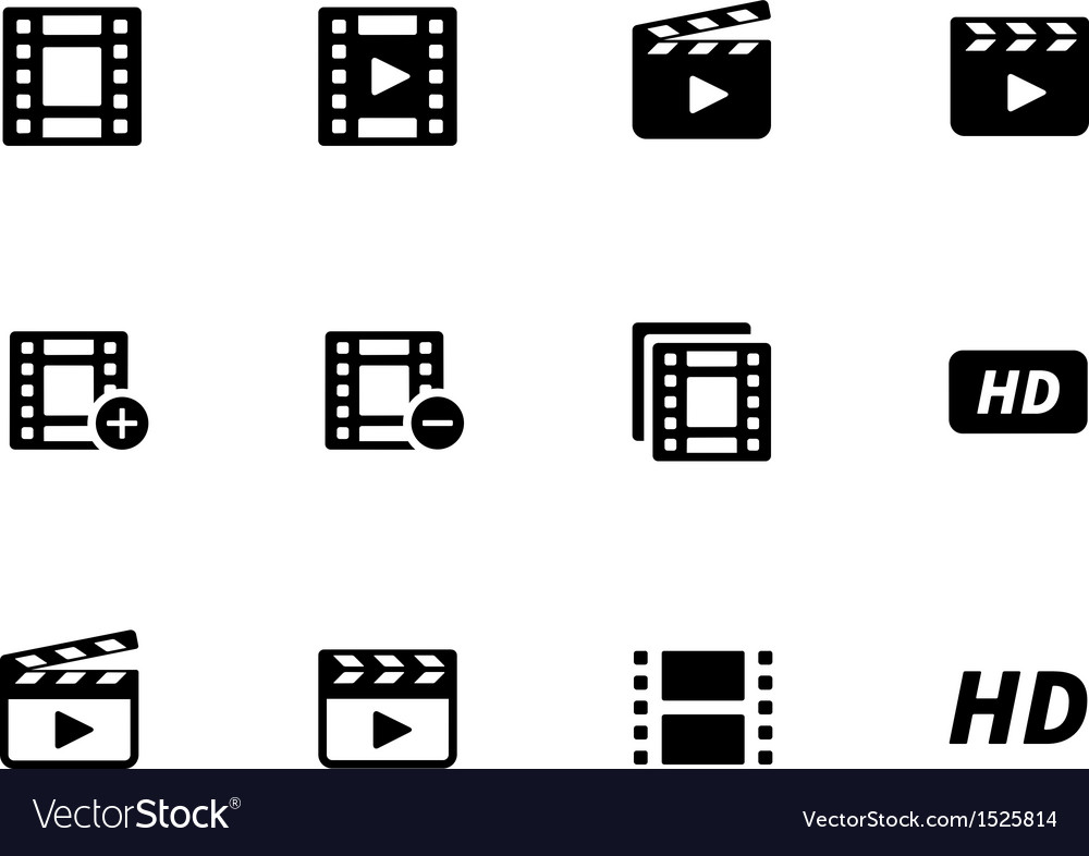 Video icons on white background vector | Price: 1 Credit (USD $1)