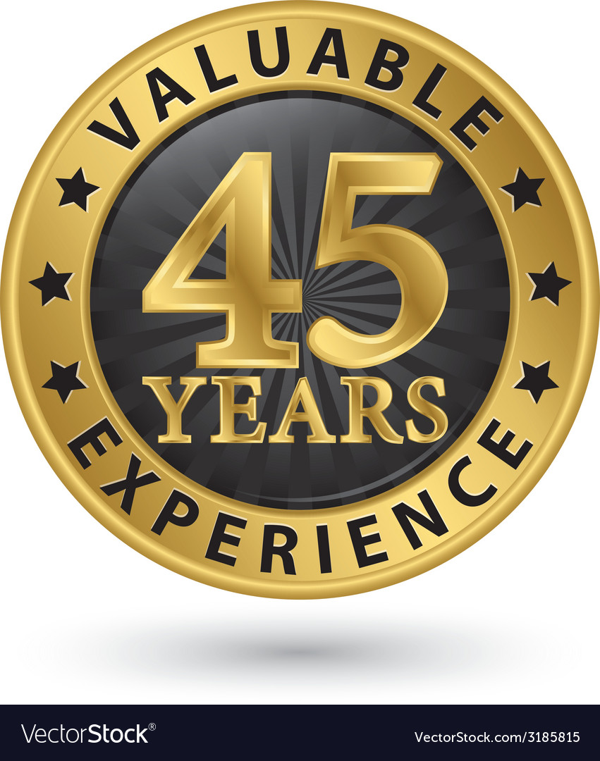 45 years valuable experience gold label vector | Price: 1 Credit (USD $1)