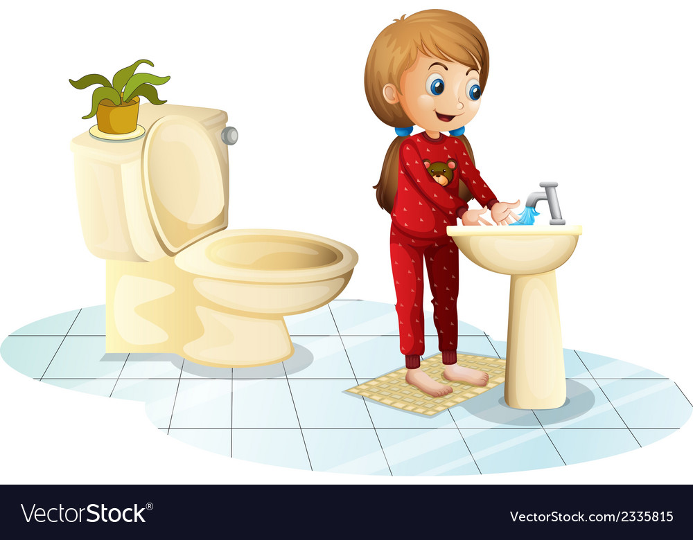 A young girl washing her hands vector   Price: 1 Credit (USD $1)