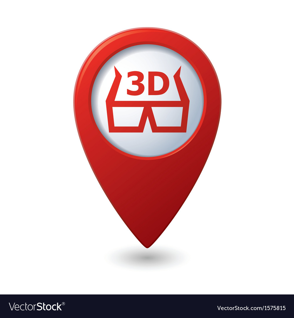 Cinema glasses 3d icon red map pointer vector | Price: 1 Credit (USD $1)