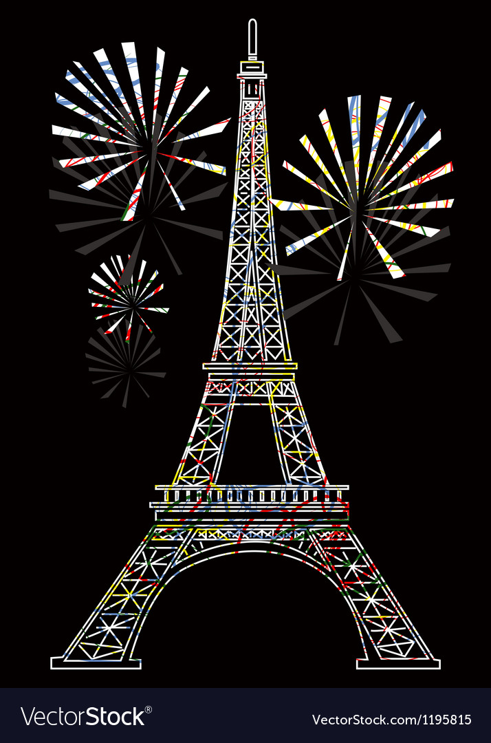 Colorful eiffel tower vector | Price: 1 Credit (USD $1)