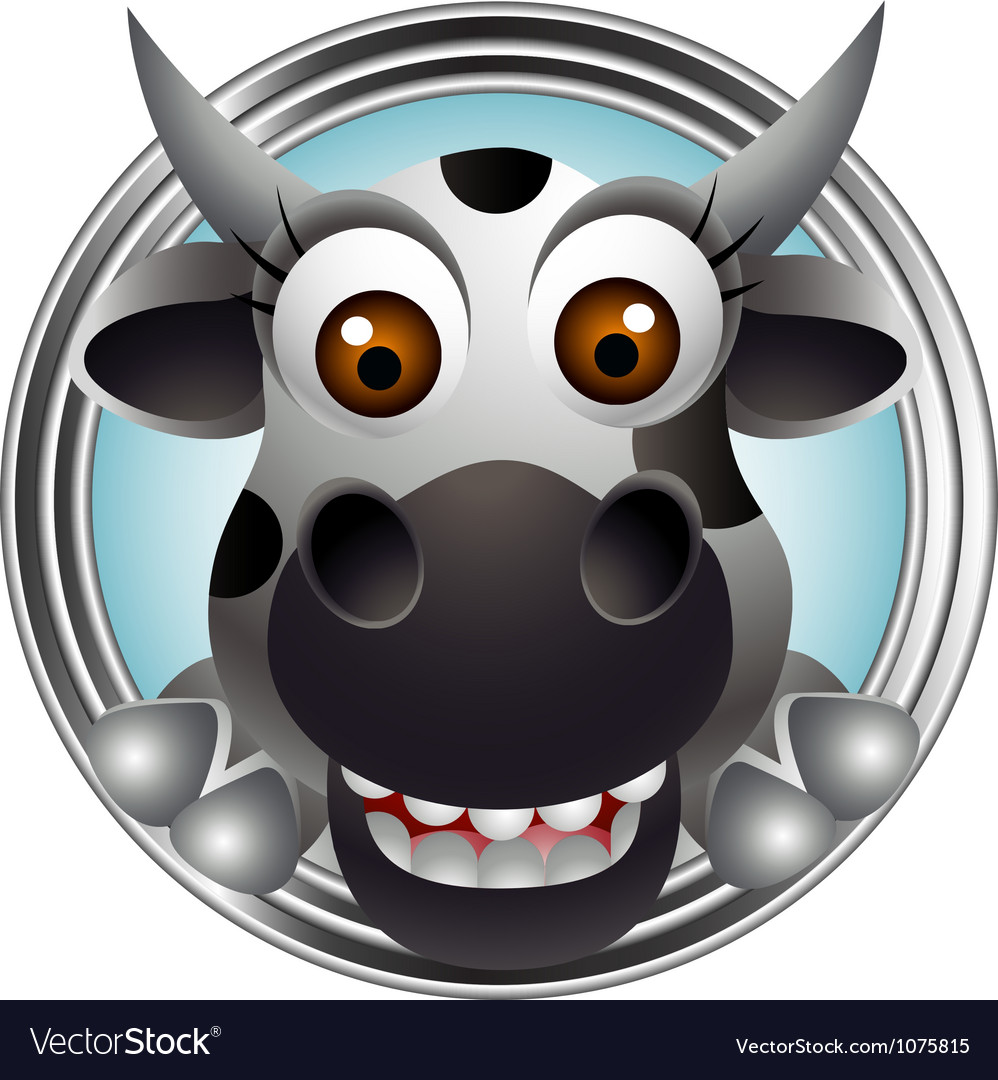 Cute cow head cartoon vector | Price: 3 Credit (USD $3)