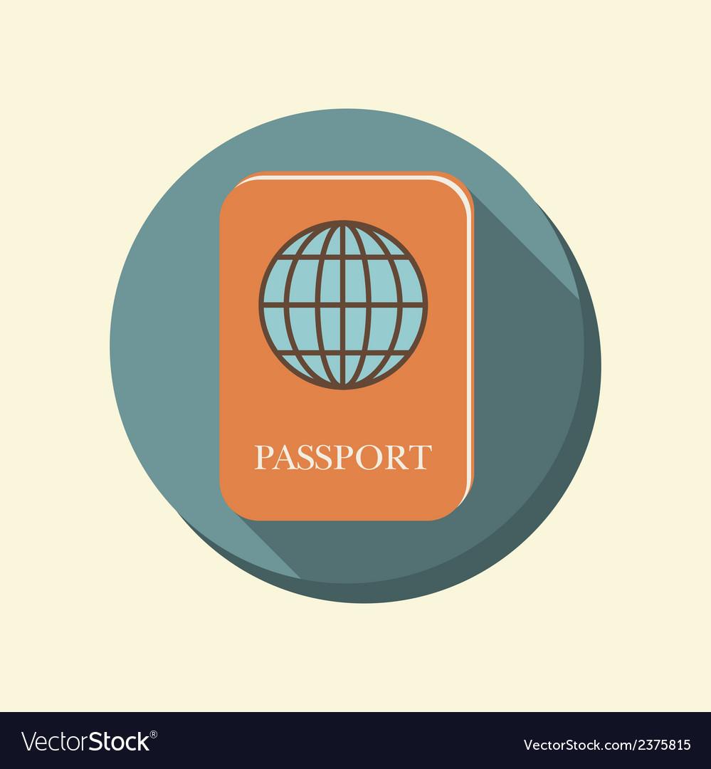 Flat circle web icon international passport vector | Price: 1 Credit (USD $1)