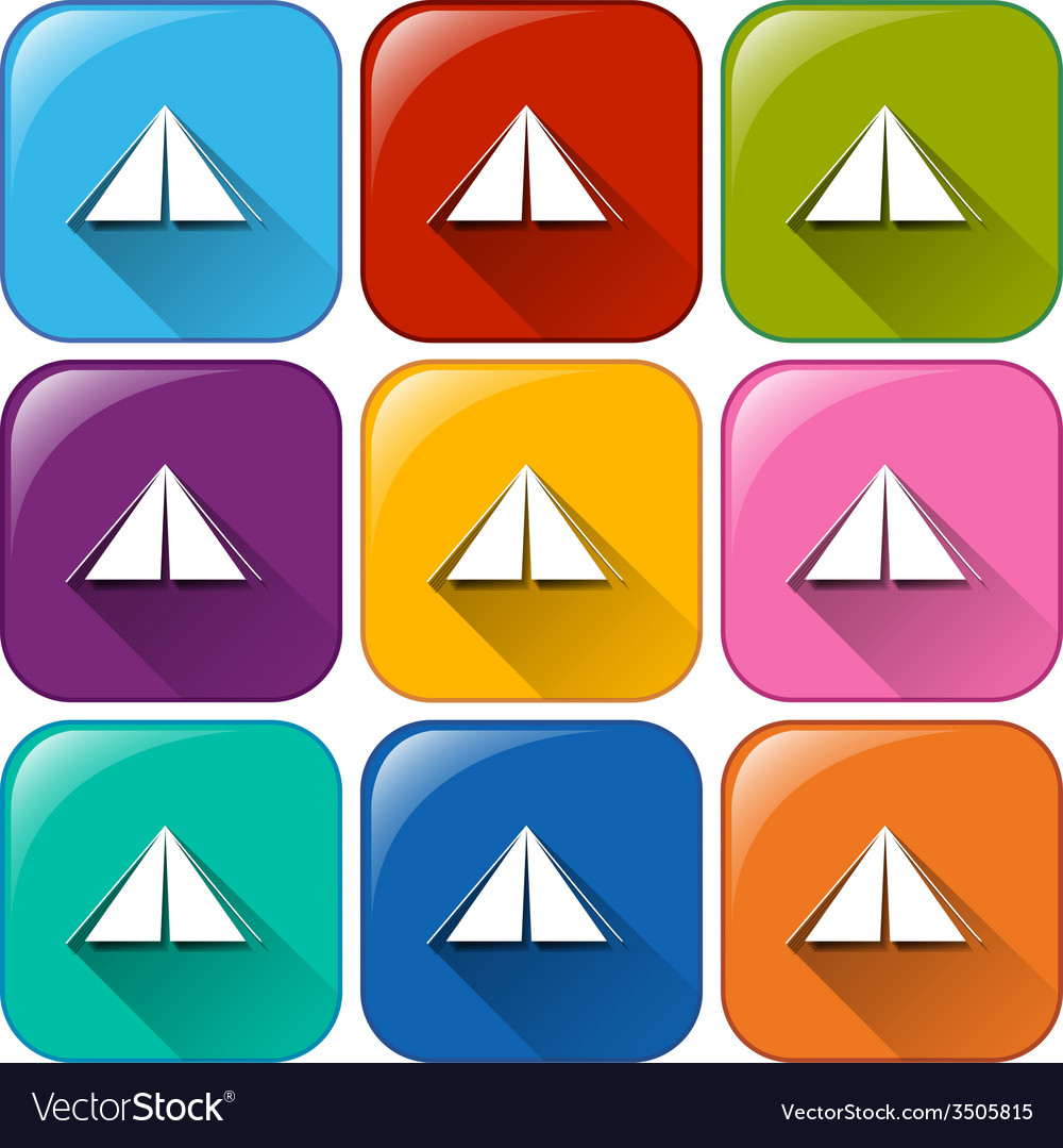 Rounded buttons with camping tents vector | Price: 1 Credit (USD $1)