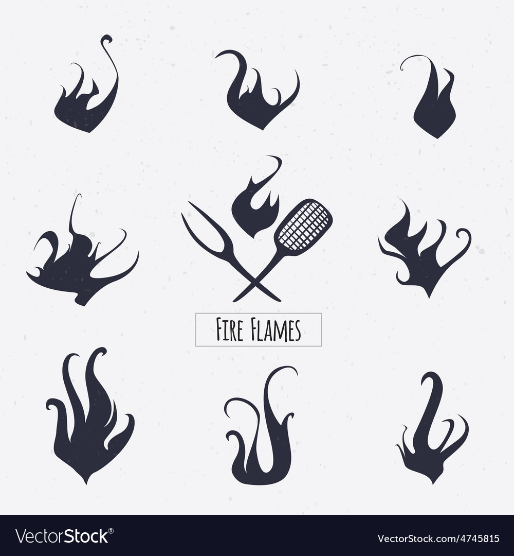 Set of vintage fire flames icons logo design vector | Price: 1 Credit (USD $1)