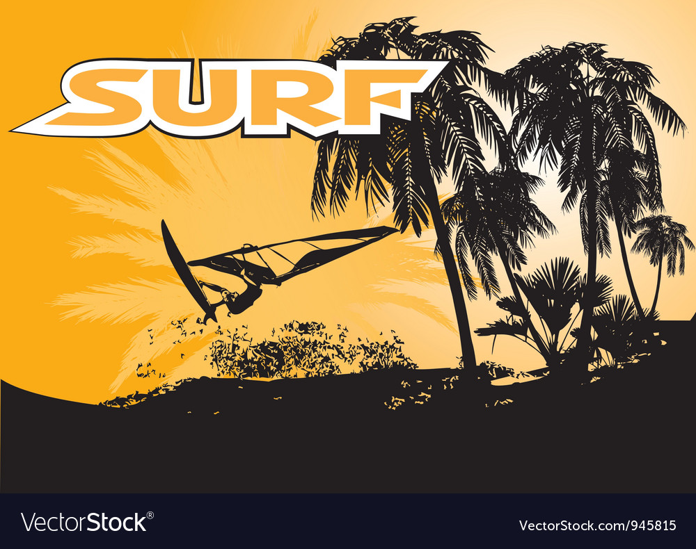 Summer windsurfing background vector | Price: 1 Credit (USD $1)