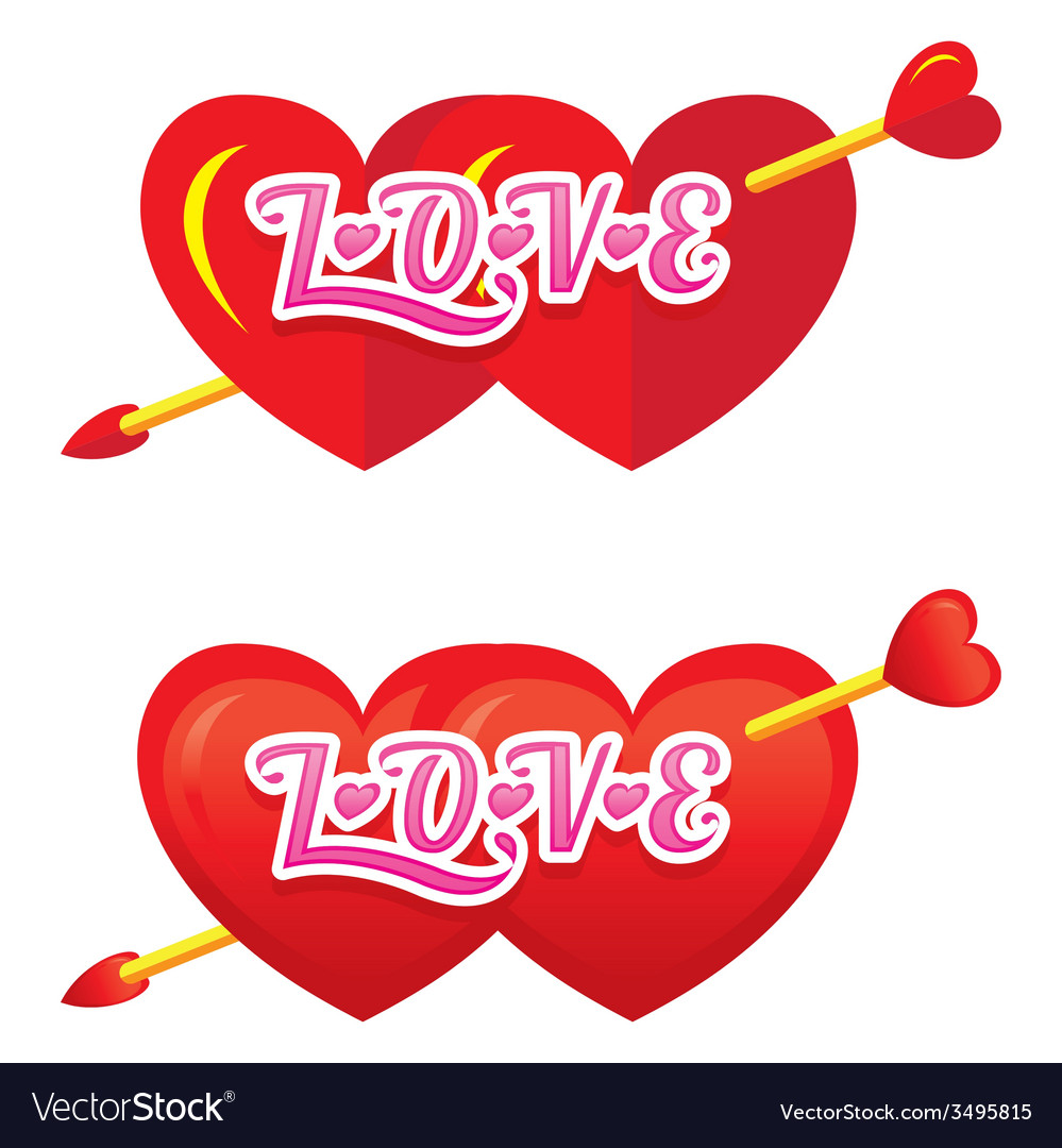Twin heart shapes with arrow vector | Price: 1 Credit (USD $1)