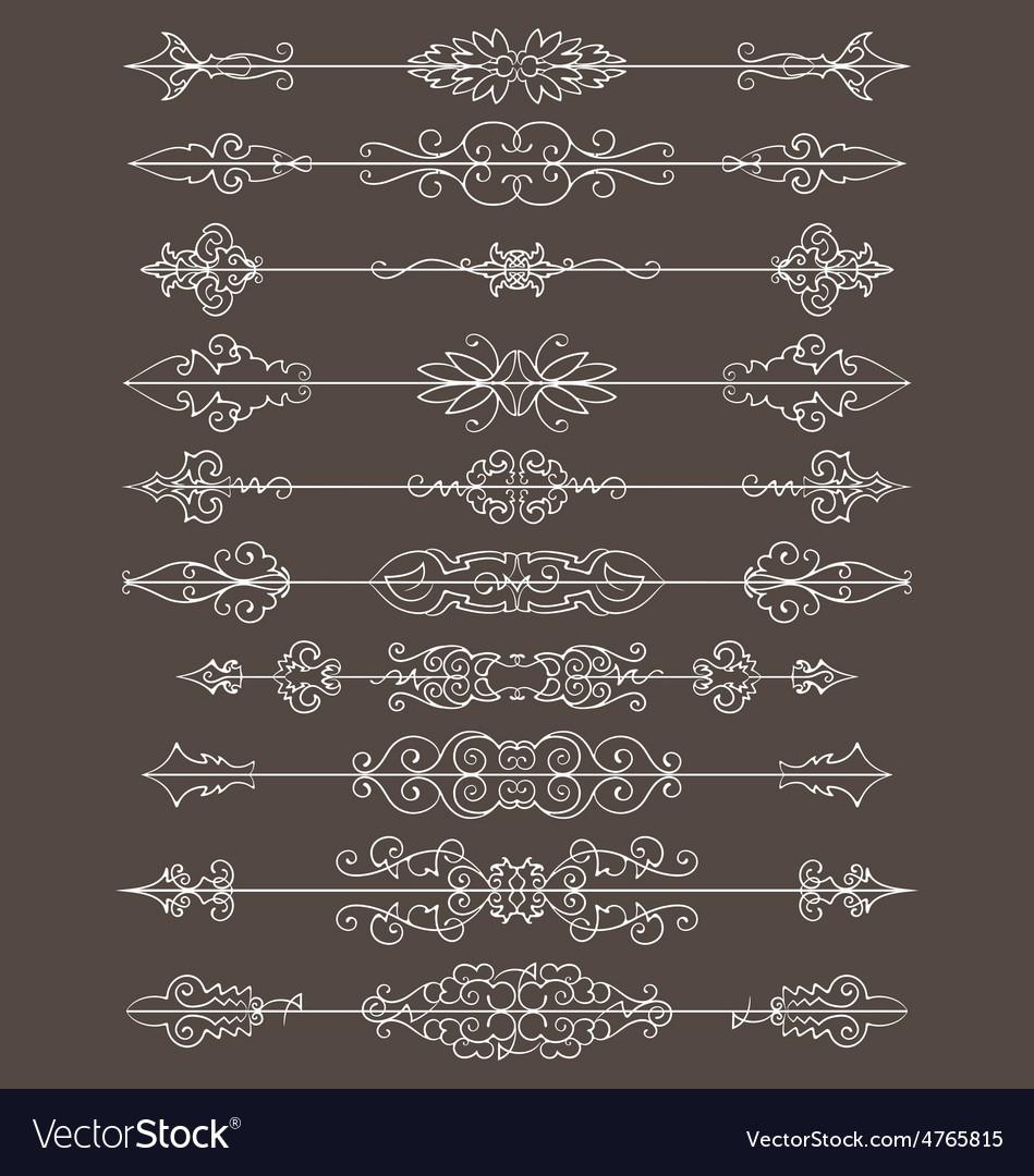 Vintage floral decorative border lines elements vector | Price: 1 Credit (USD $1)