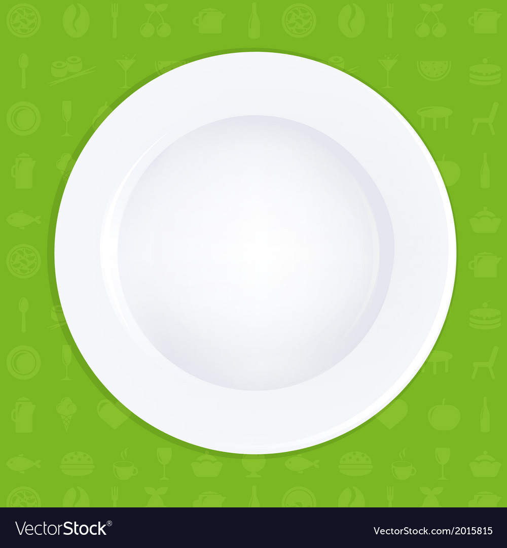 White plate on green background vector | Price: 1 Credit (USD $1)