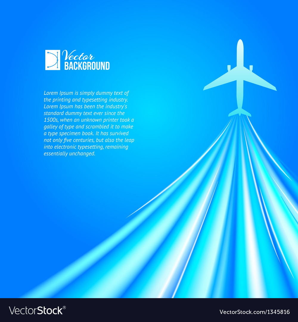 Airplane over blue background vector | Price: 1 Credit (USD $1)