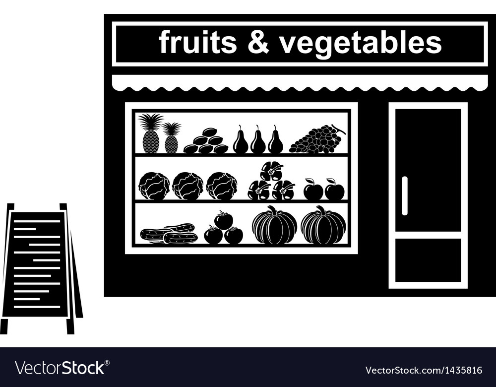 Black icon of shop of fruit vector | Price: 1 Credit (USD $1)