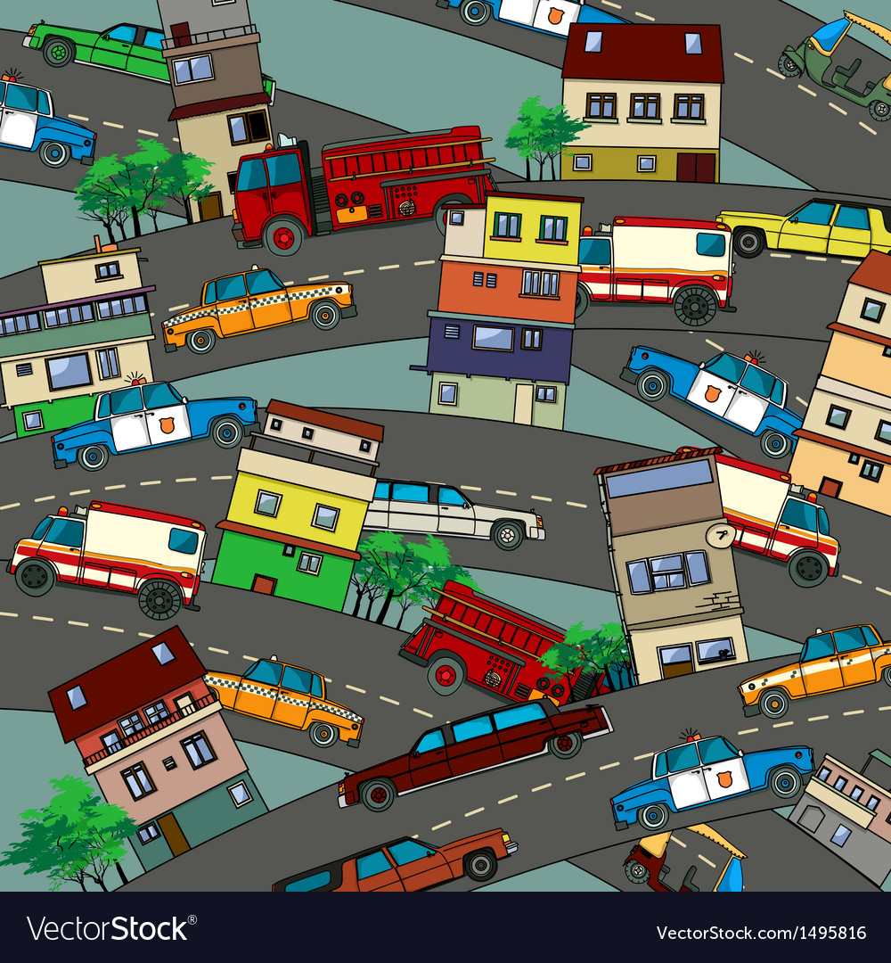 Busy city vector | Price: 1 Credit (USD $1)