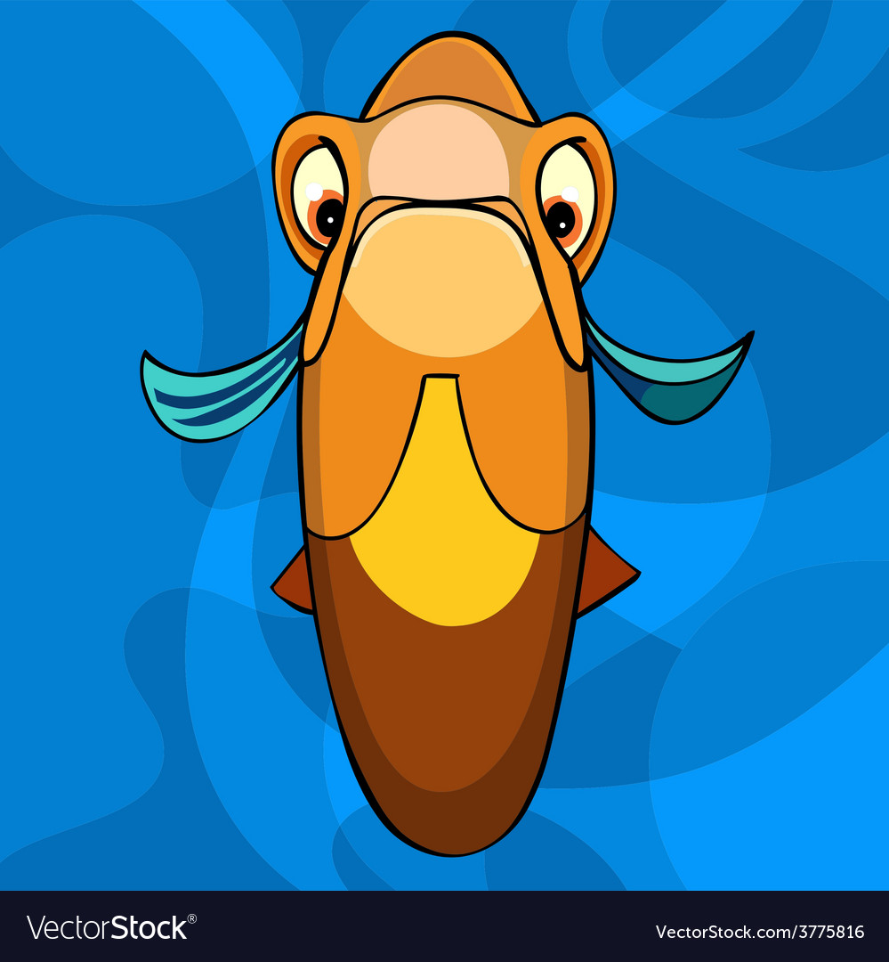 Cartoon orange fish snout vector | Price: 3 Credit (USD $3)