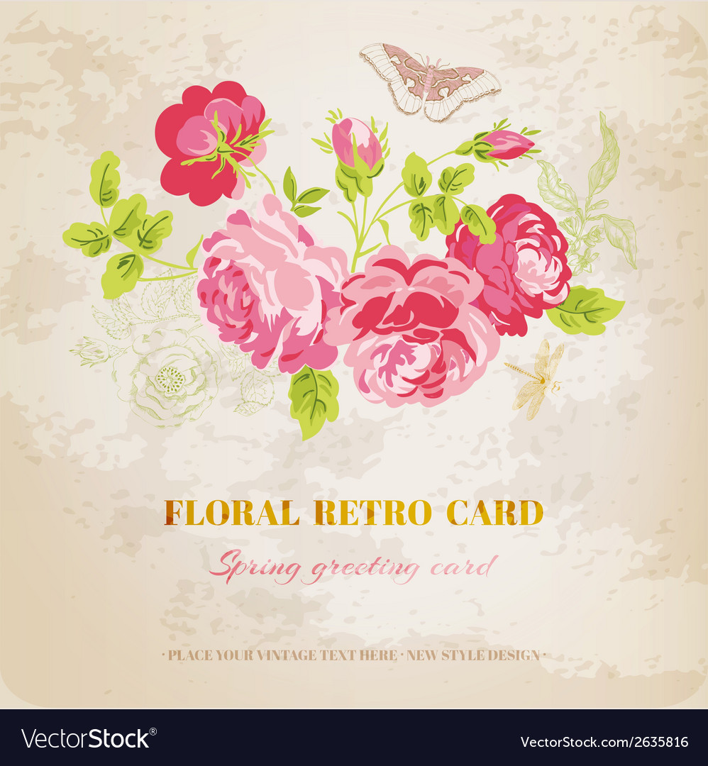 Floral shabby chic card - vintage design vector | Price: 1 Credit (USD $1)