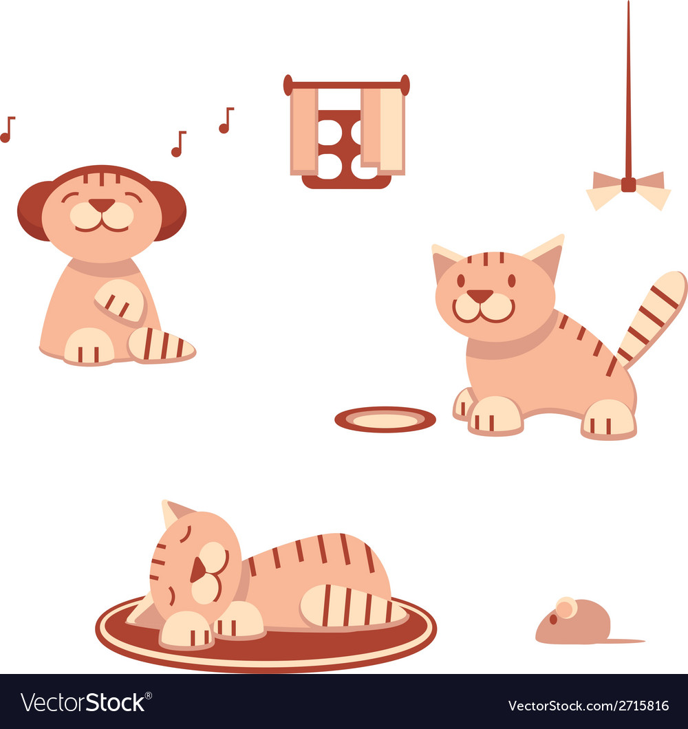 Funny cats in flat style vector | Price: 1 Credit (USD $1)
