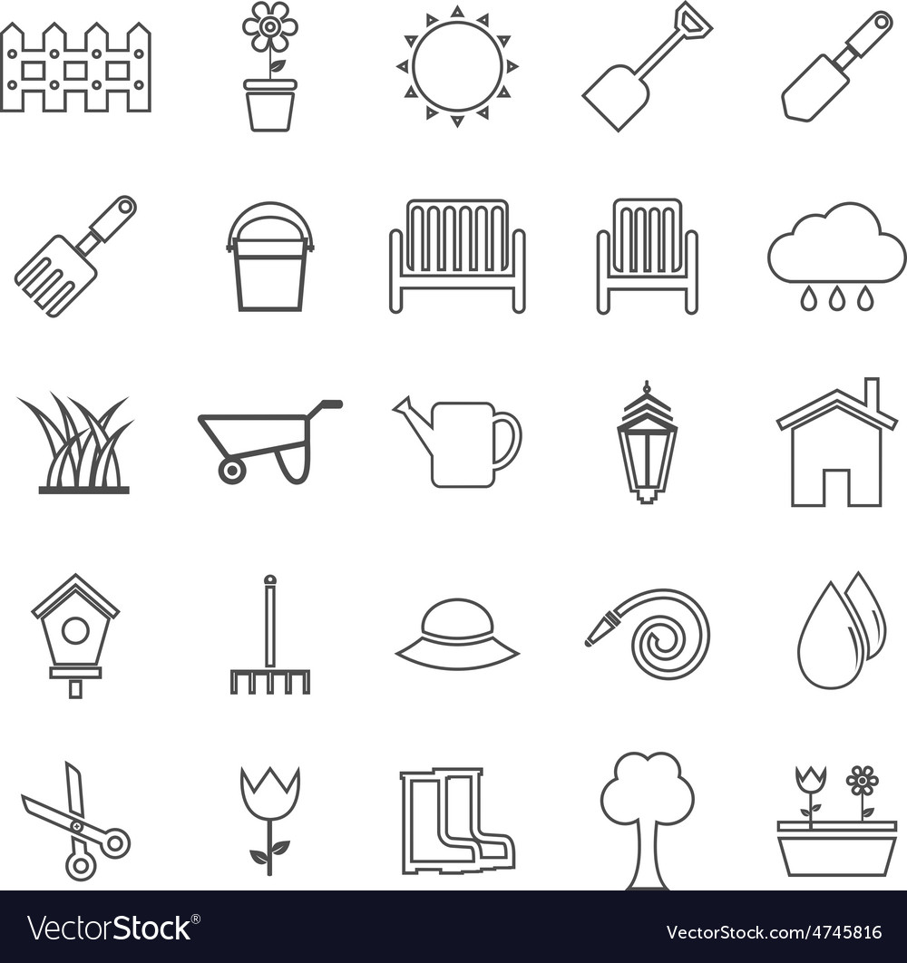 Gardening line icons on white background vector | Price: 1 Credit (USD $1)