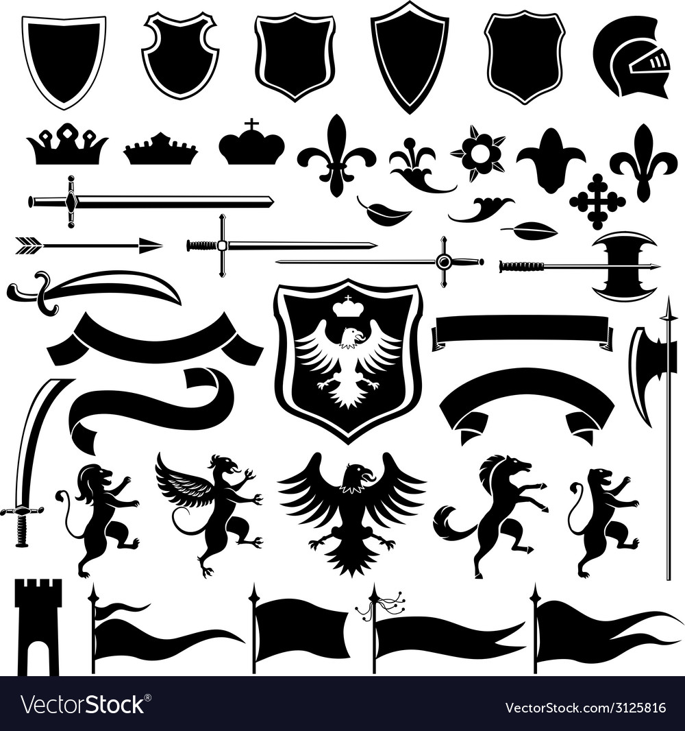 Heraldic set black vector | Price: 1 Credit (USD $1)
