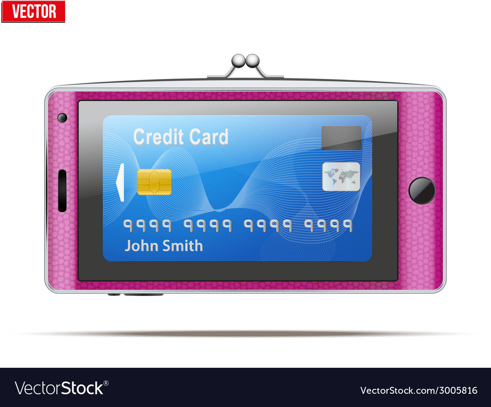 Mobile phone in the form of a wallet electronic vector   Price: 1 Credit (USD $1)