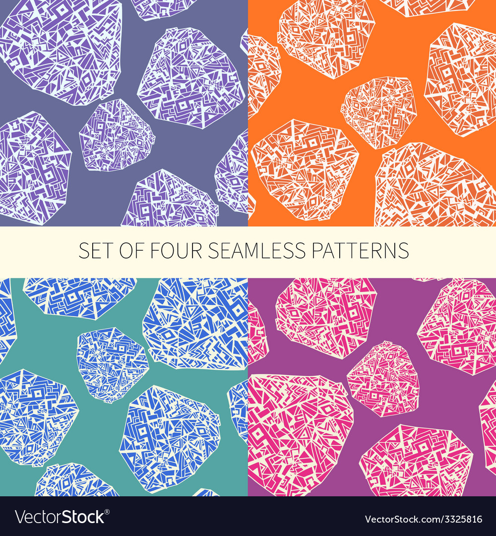 Set of four abstract seamless patterns vector | Price: 1 Credit (USD $1)