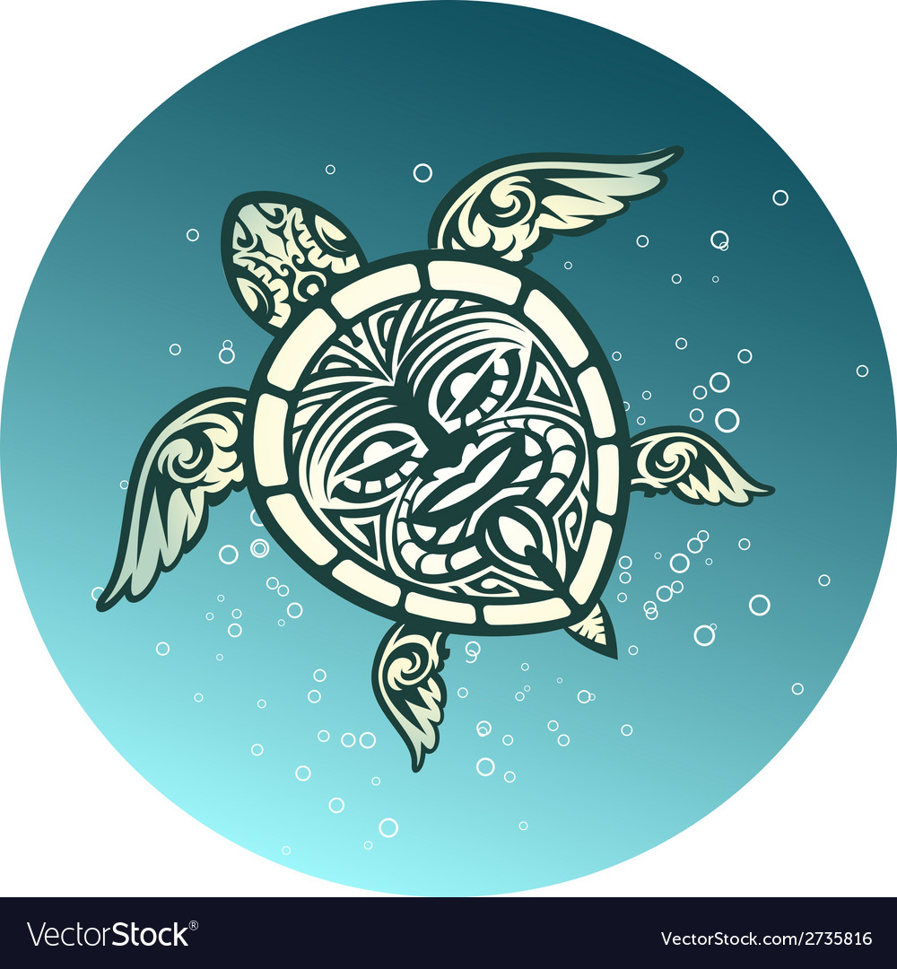 Swimming sea turtle with polynesian tribal pattern vector | Price: 1 Credit (USD $1)
