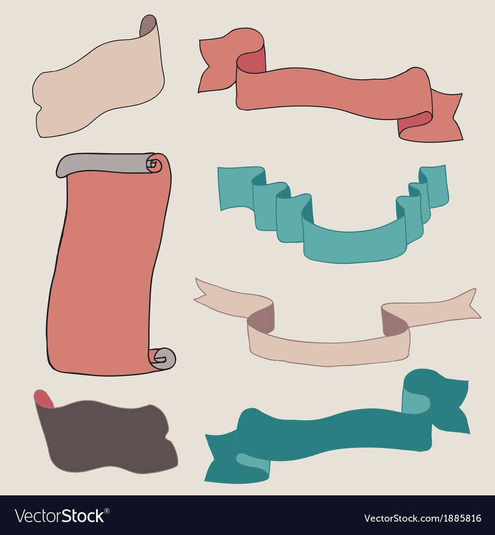 Vintage ribbons collection vector | Price: 1 Credit (USD $1)