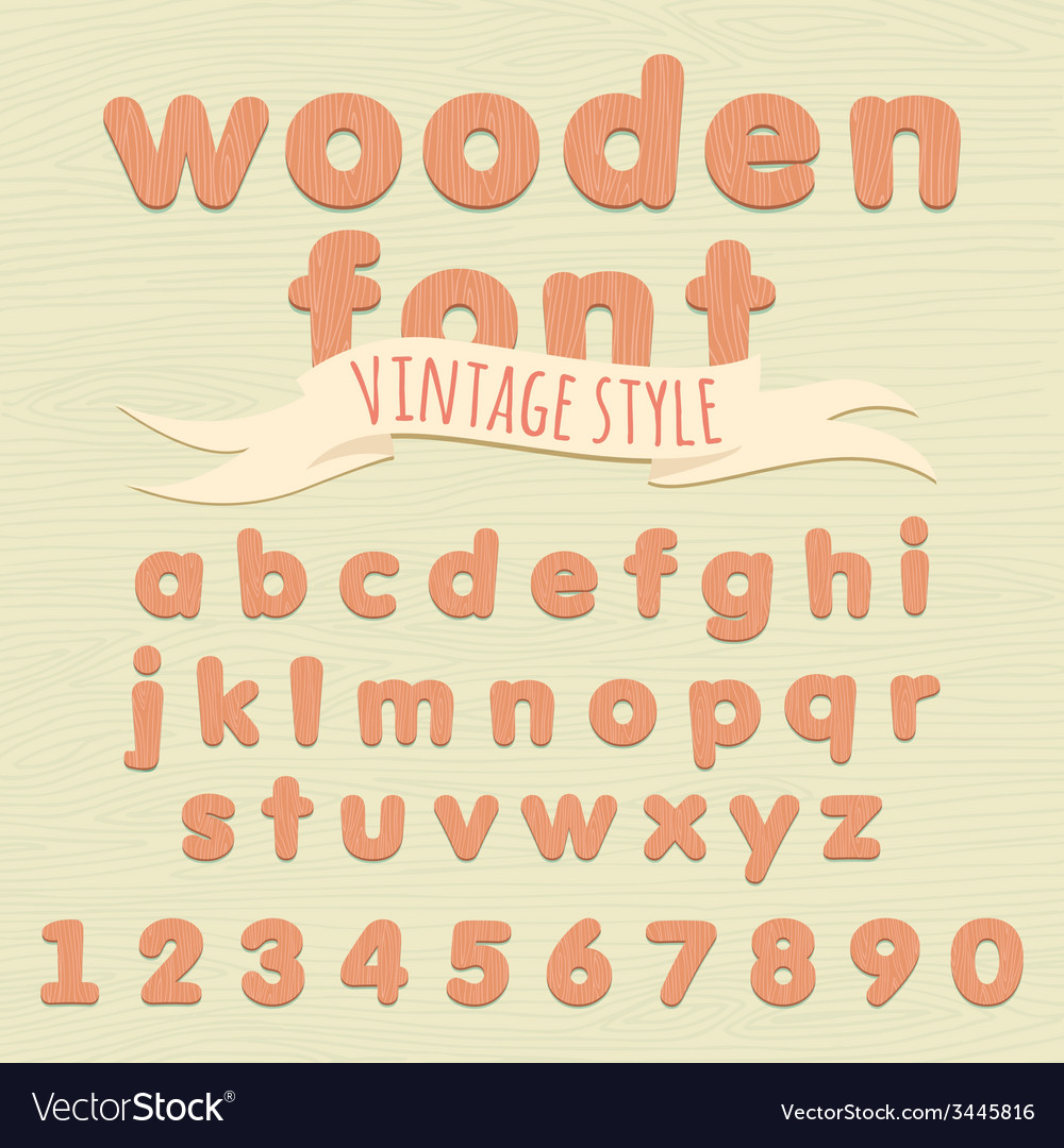Vintage wooden alphabet flat style vector | Price: 1 Credit (USD $1)