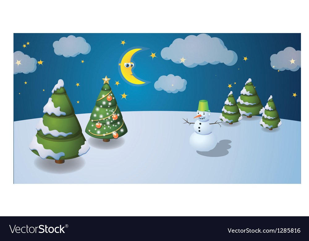 Winter scenery with snowman vector | Price: 1 Credit (USD $1)