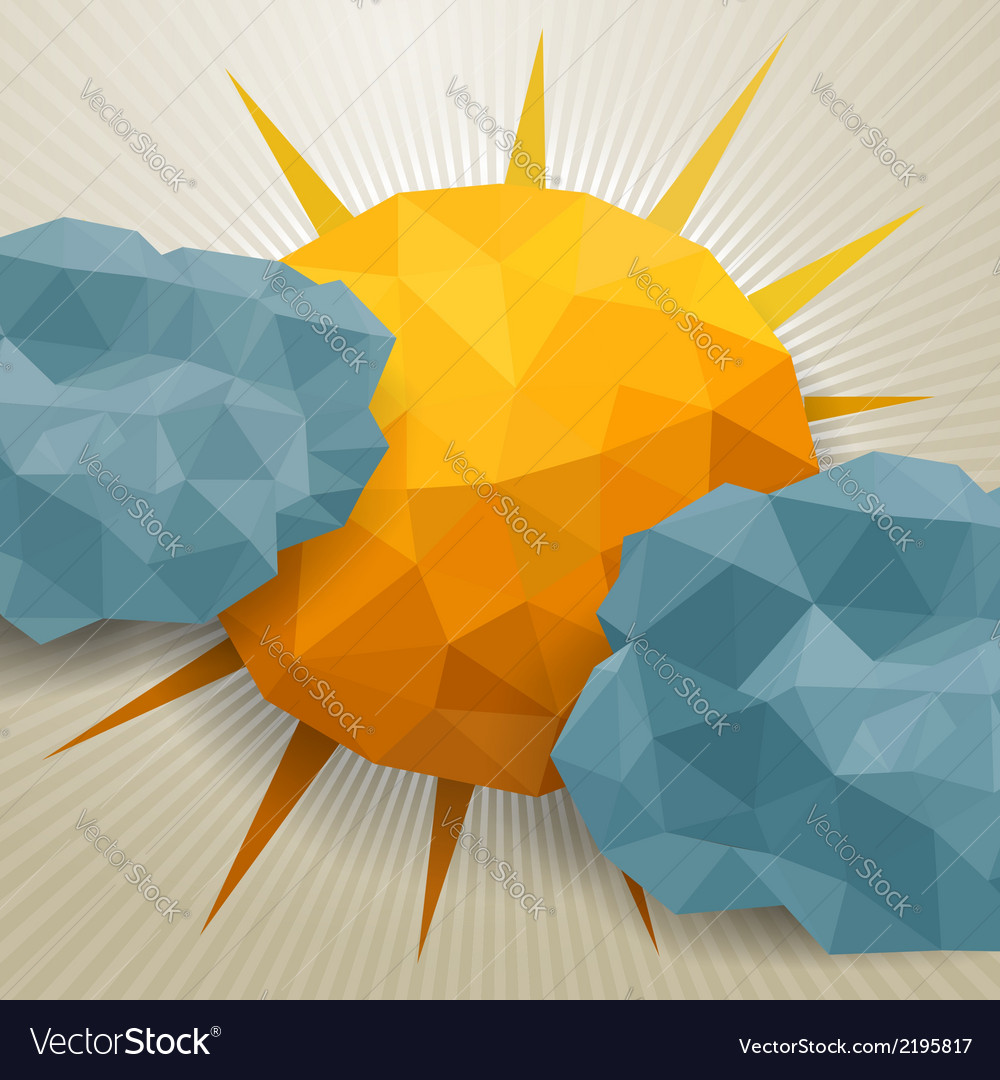 Abstract triangle clouds and sun vector | Price: 1 Credit (USD $1)