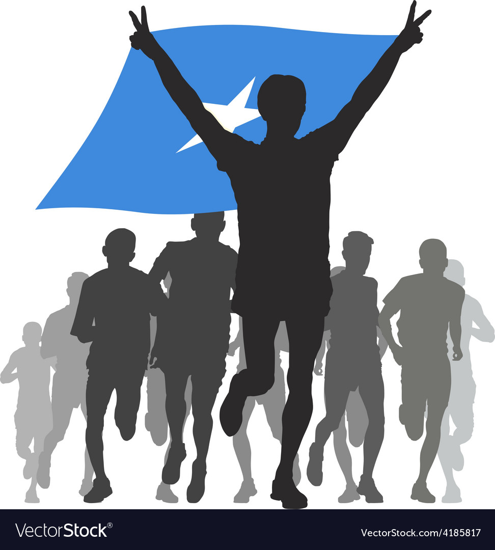 Athlete with the somalia flag at the finish vector | Price: 1 Credit (USD $1)