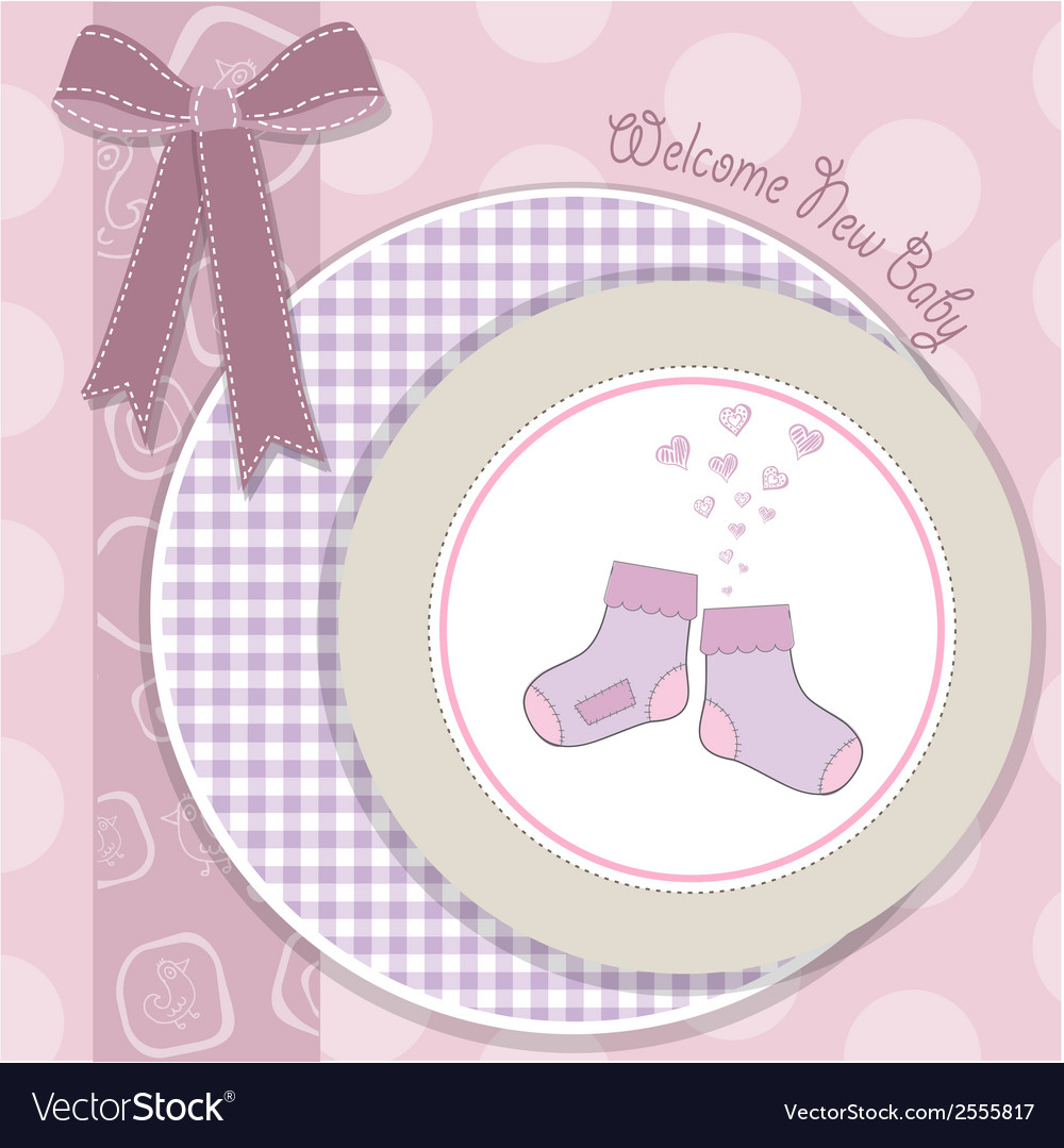 Baby girl shower announcement card vector | Price: 1 Credit (USD $1)
