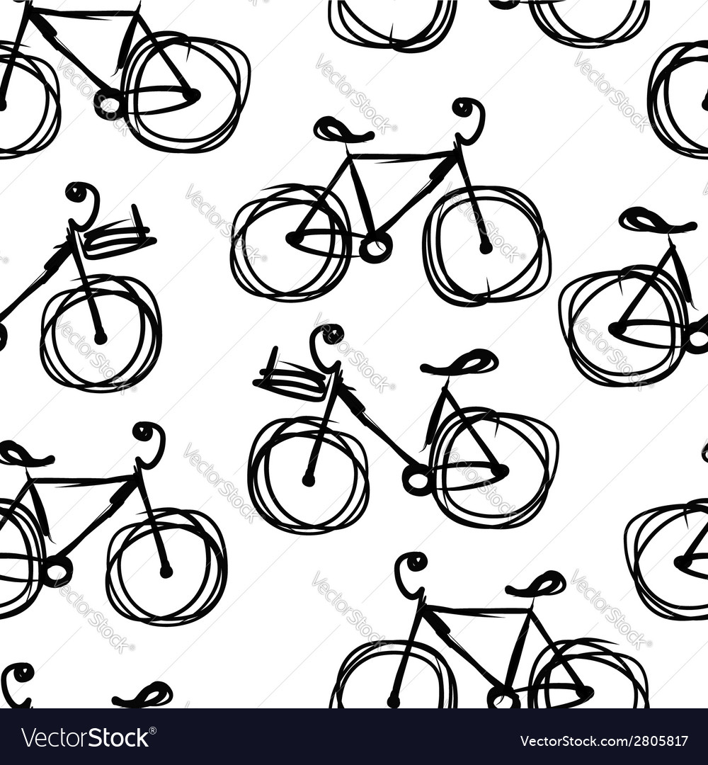 Bicycle sketch seamless pattern for your design vector | Price: 1 Credit (USD $1)
