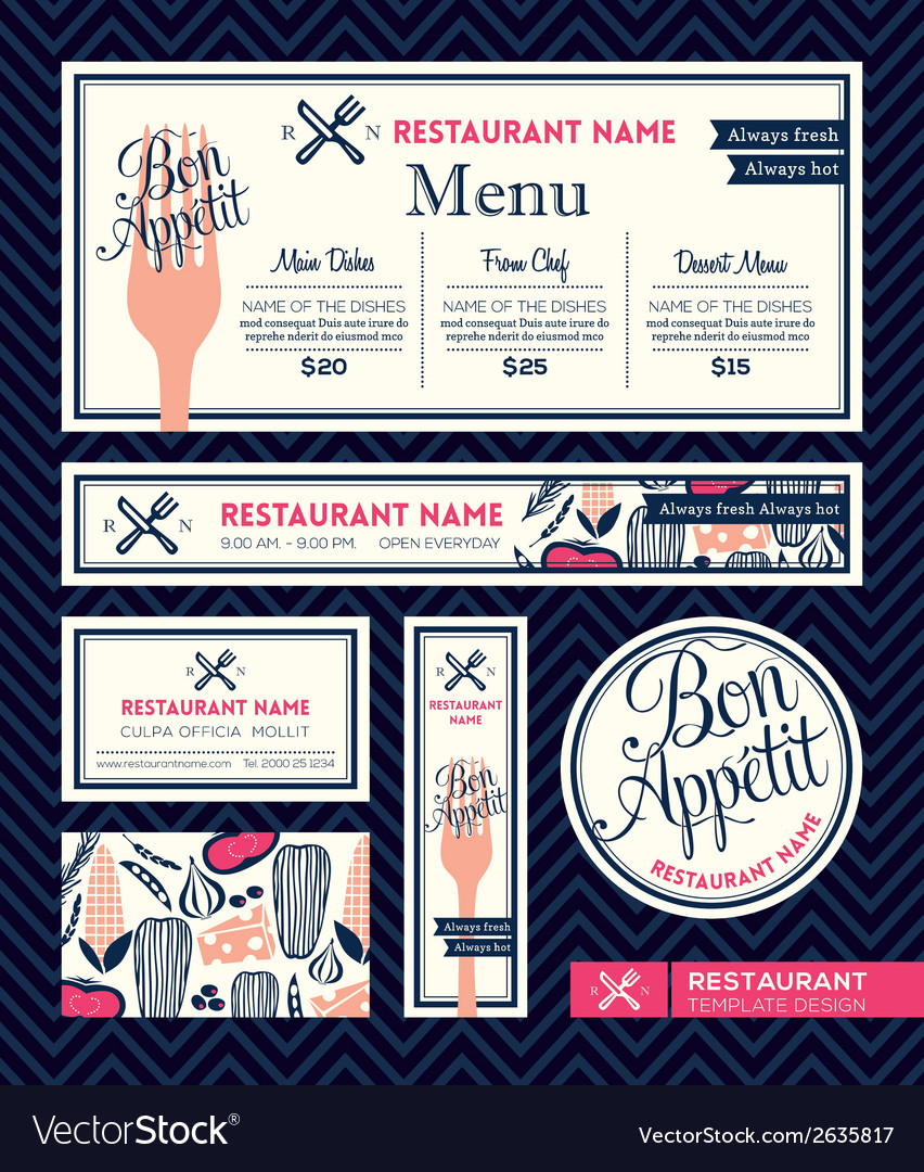 Bon appetit restaurant set menu design template vector | Price: 1 Credit (USD $1)