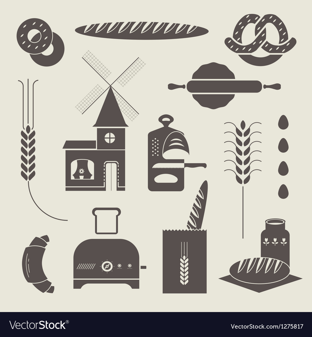 Bread icons vector | Price: 3 Credit (USD $3)