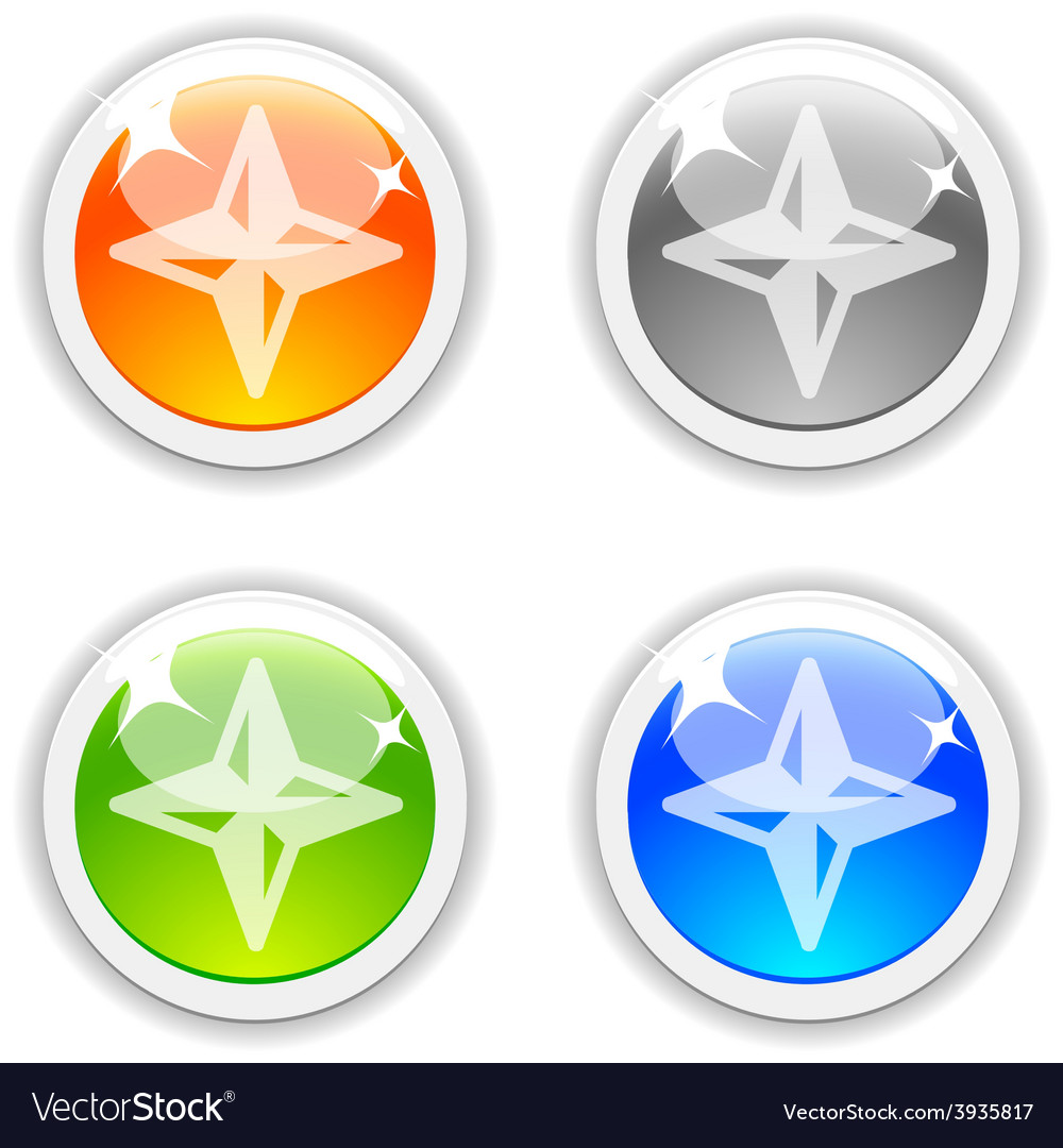Compass buttons vector | Price: 1 Credit (USD $1)