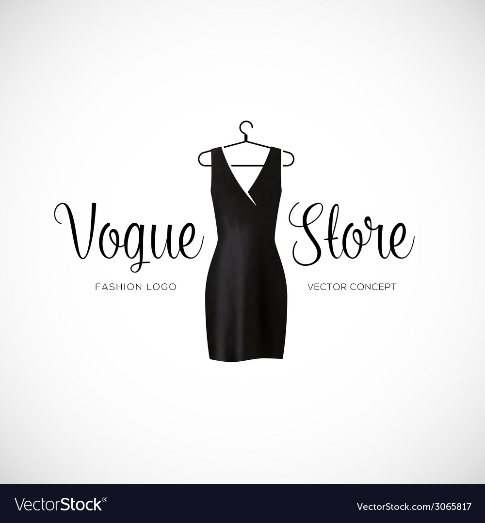 Fashion vogue store logo template with black dress vector | Price: 1 Credit (USD $1)