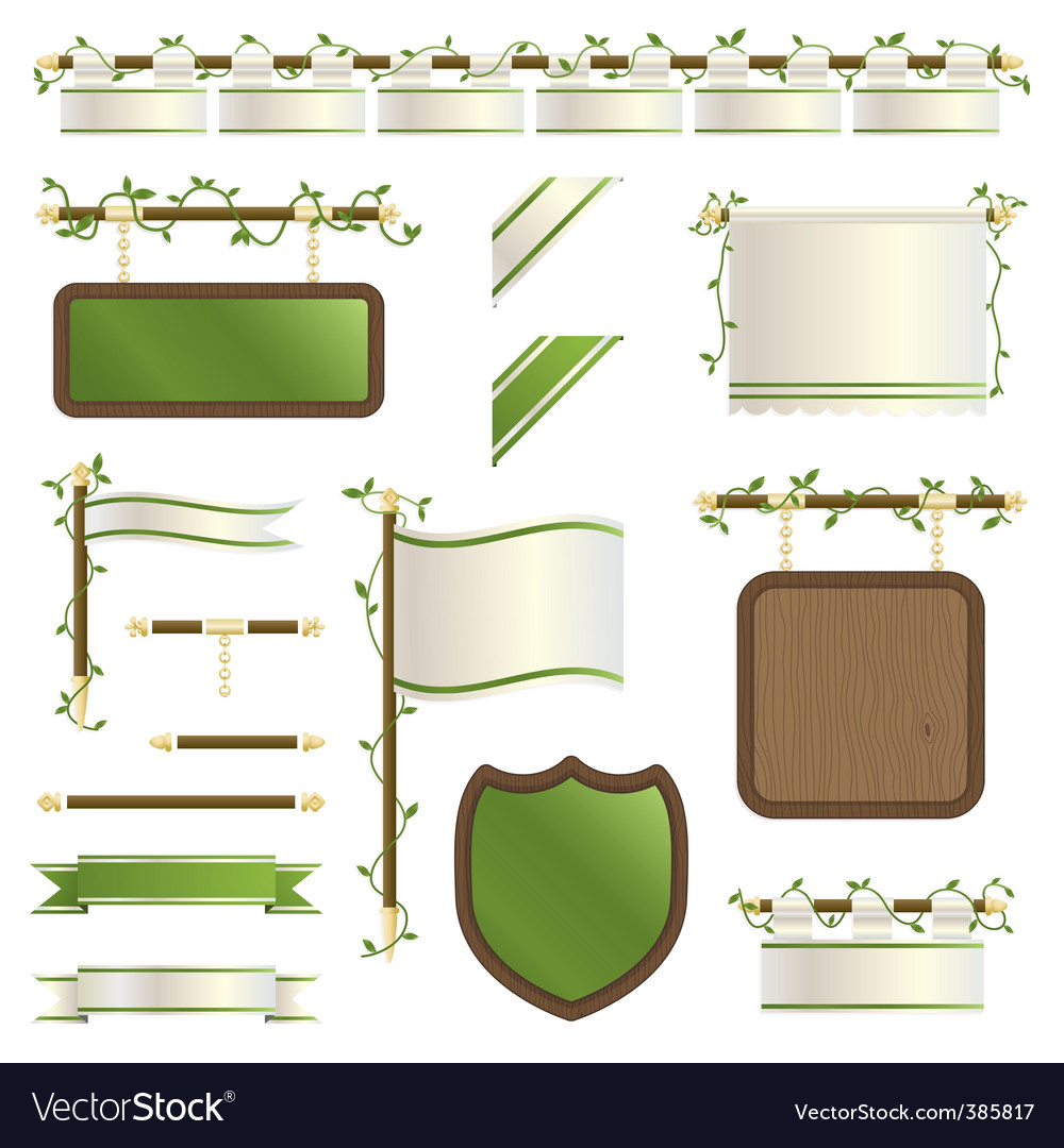 Floral ribbons vector | Price: 1 Credit (USD $1)
