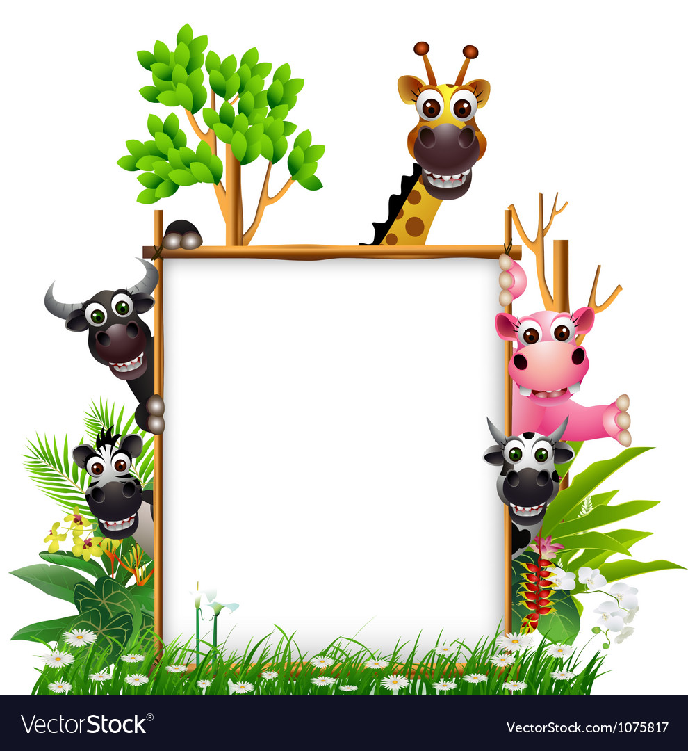 Funny animal cartoon with board vector   Price: 3 Credit (USD $3)