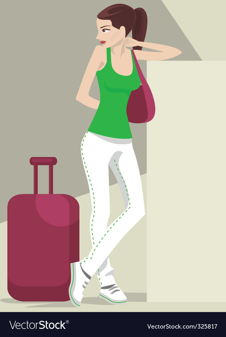 Girl traveling vector | Price: 1 Credit (USD $1)