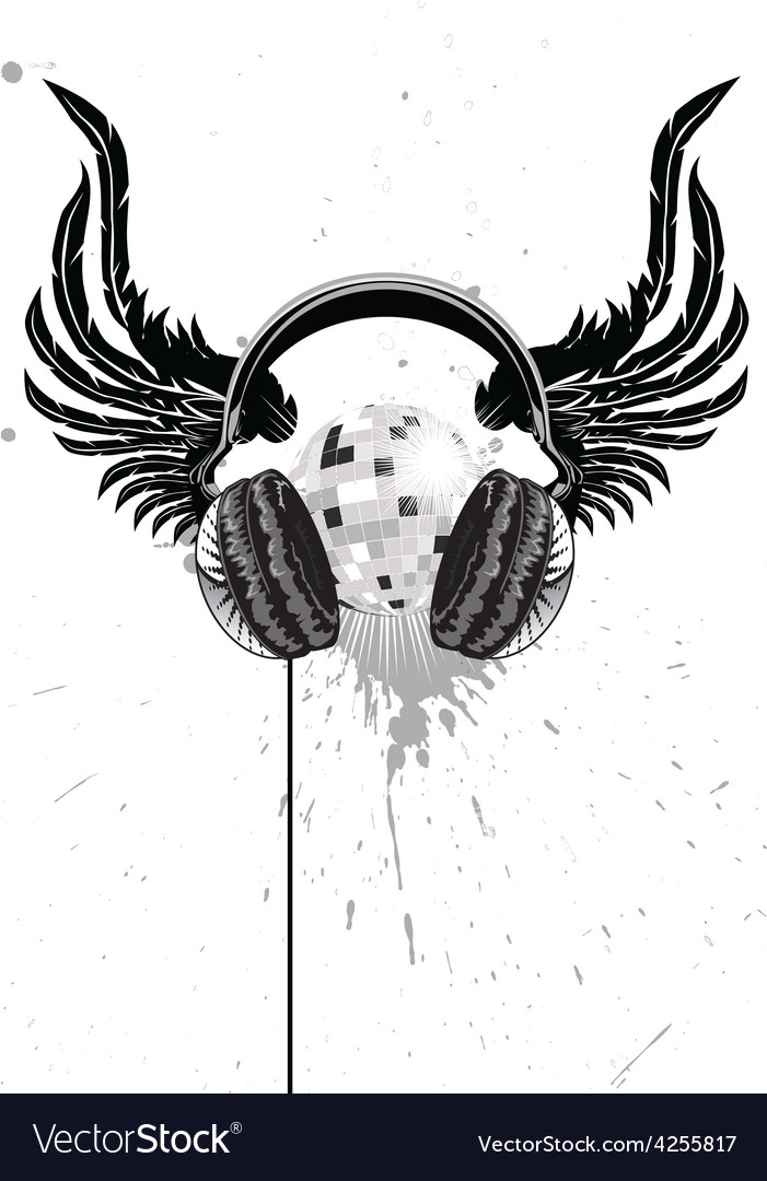 Headphone emblem vector | Price: 1 Credit (USD $1)