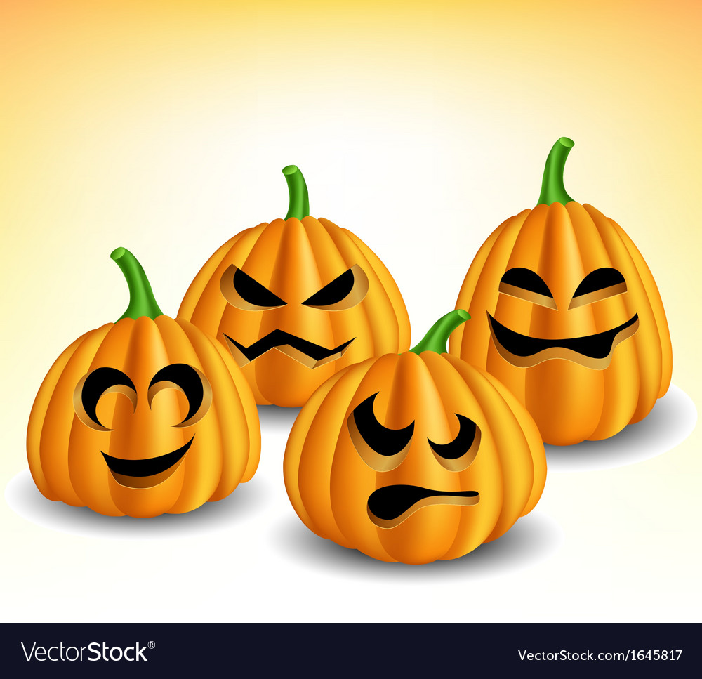 Pumpkin head set with different expressions vector | Price: 1 Credit (USD $1)