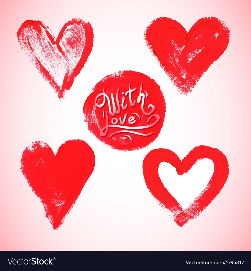 Set of watercolor red heart vector