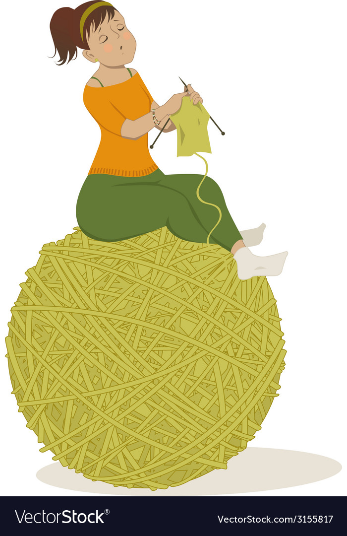 Woman knitting vector | Price: 1 Credit (USD $1)